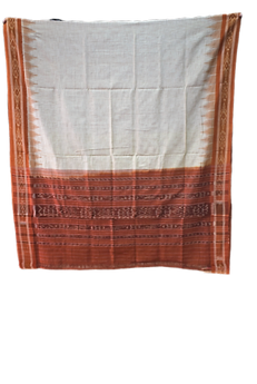 ODISHA HANDLOOM NUAPATNA WOMEN'S JHARANA COTTON SAREE OFF WHITE AJODI002599