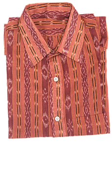 LIGHT MAROON HANDLOOM MEN'S IKAT COTTON HALF SHIRT FROM SAMBALPUR ODISHA AJODI002809