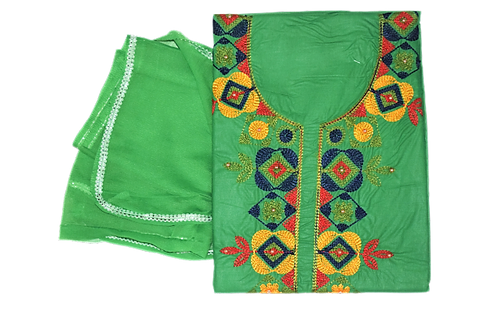 GREEN COLOUR EMBROIDERY DESIGN HAND WORK COTTON LADIES DRESS MATERIAL AJODI002907