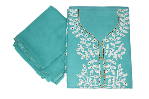 BABY BLUE COLOUR EMBROIDERY DESIGN CHUMKI PRINTED COTTON LADIES DRESS MATERIAL AJODI002908