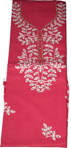 PINK COLOUR EMBROIDERY DESIGN CHUMKI PRINTED COTTON LADIES DRESS MATERIAL AJODI002910