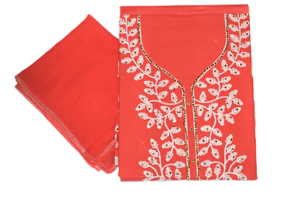 CANDY APPLE COLOUR EMBROIDERY DESIGN CHUMKI PRINTED COTTON LADIES DRESS MATERIAL AJODI002911