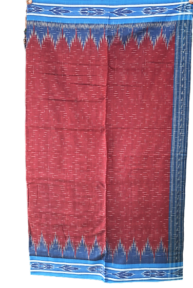 Jharana Design Maroon With Ink Blue Ikat Handloom Maniabandha Cotton Saree From Odisha AJODI002922