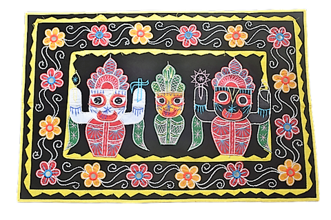 Embroidery With Mirror Work Black Colour Handmade Pipili Lord Jagannath, Balabhadra, Subhadra Chandua AJODI002924