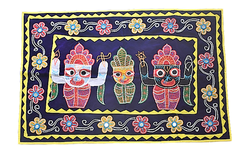 Embroidery With Mirror Work Blue Colour Handmade Pipili Lord Jagannath, Balabhadra, Subhadra Chandua AJODI002925