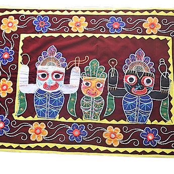 Embroidery With Mirror Work Coffee Colour Handmade Pipili Lord Jagannath, Balabhadra, Subhadra Chandua AJODI002926