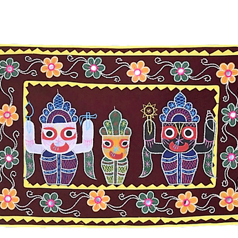 Embroidery With Mirror Work Maroon  Colour Handmade Pipili Lord Jagannath, Balabhadra, Subhadra Chandua AJODI002927