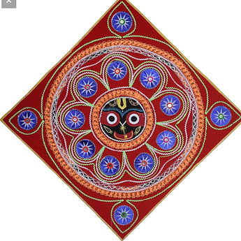 Lord Jagannath Design Handmade Velvet Applique Pipili Chandua From Odisha AJODI002933