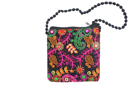 Handmade Applique Flower Design Ladies Hand Purse From Rajasthan AJODI003000