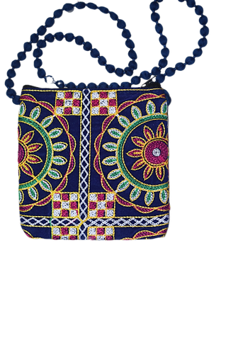 Handmade Applique Jhoti Design Ladies Hand Purse From Rajasthan AJODI003001