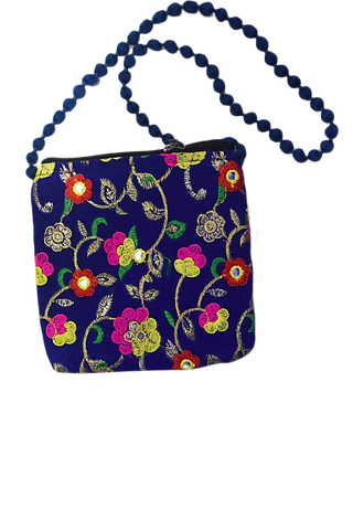 Handmade Applique Flower Design Ladies Hand Purse From Rajasthan AJODI003002