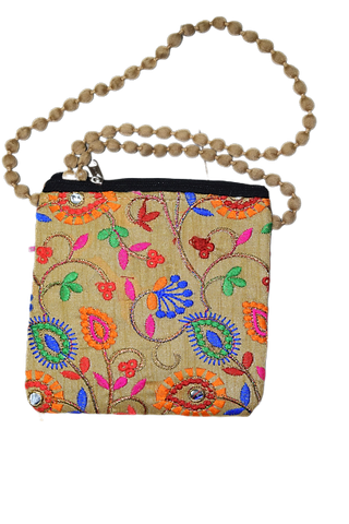 Handmade Applique Flower Design Ladies Hand Purse From Rajasthan AJODI003003