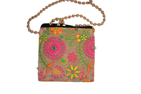 Handmade Applique Work Flower Design Ladies Hand Purse From Rajasthan AJODI003004