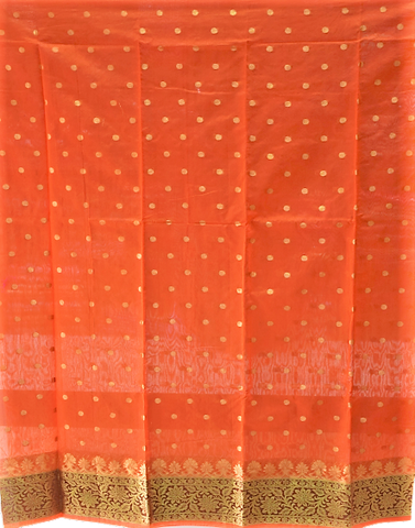 ORANGE WITH PINK INDIAN HANDLOOM BANARASI COTTON SILK LADIES DRESS MATERIAL AJODI003032