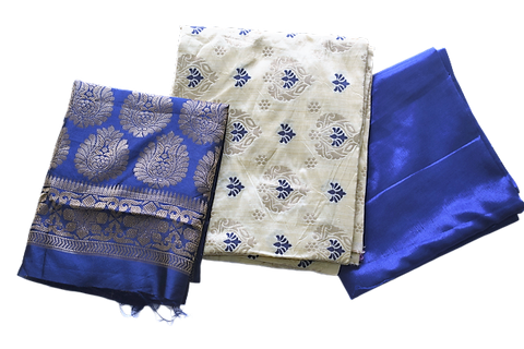 Handloom Banarasi Matha With Blue Color Cotton Silk Ladies Salwar Suit AJODI003044