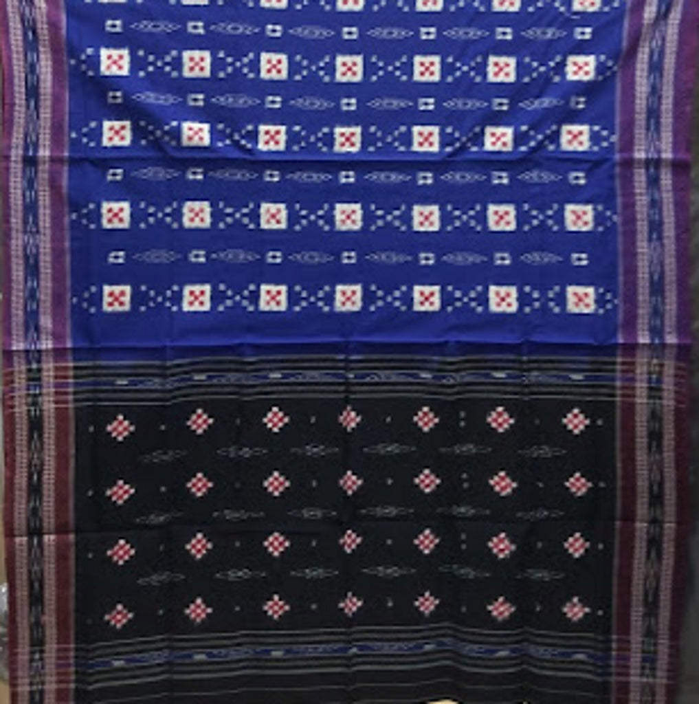 Pasapalli design Navy blue with black cotton odisha handloom sambalpuri saree