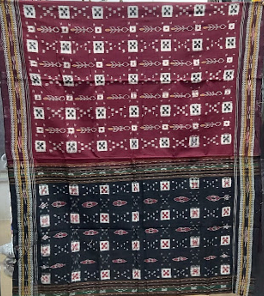 Pasapalli Design Maroon with Black cotton Odisha Handloom Sambalpuri saree