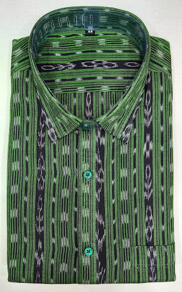 Odisha Handloom Green Ikkat Sambalpuri Half Cotton shirts for men
