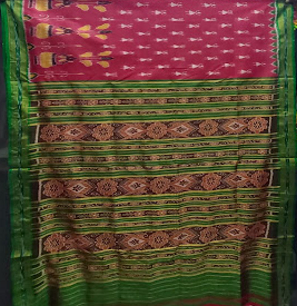 Red with Green Kalash and doll Design Odisha Handloom silk sarees