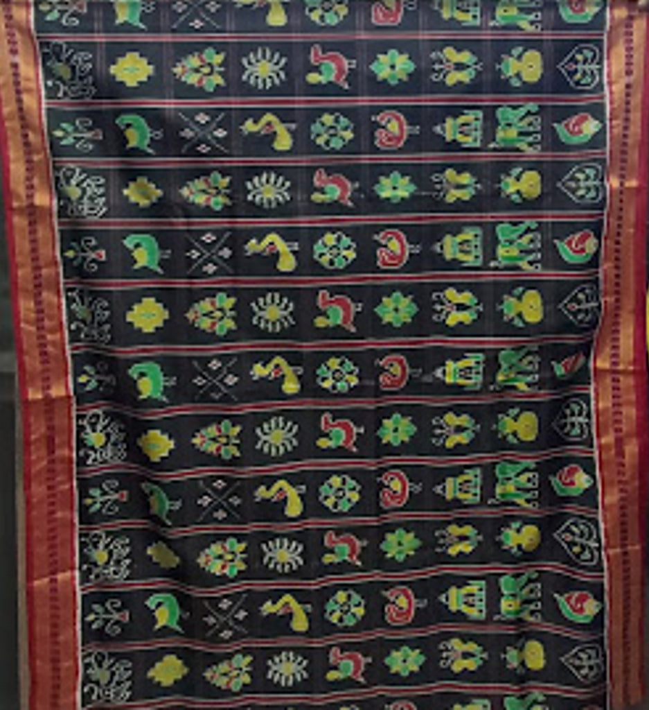 Black  with Maroon Nabakothi( nine- design) Odisha Handloom silk sarees