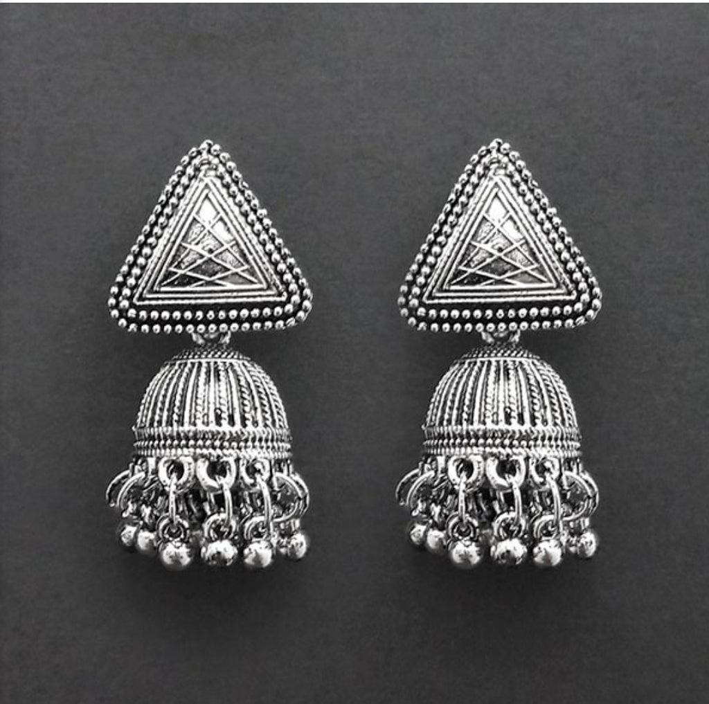 Stylish Triangle Oxidized crafted Indian Fashion designs Collection Rajasthani Jewellery Earring jhumka AJODI006027