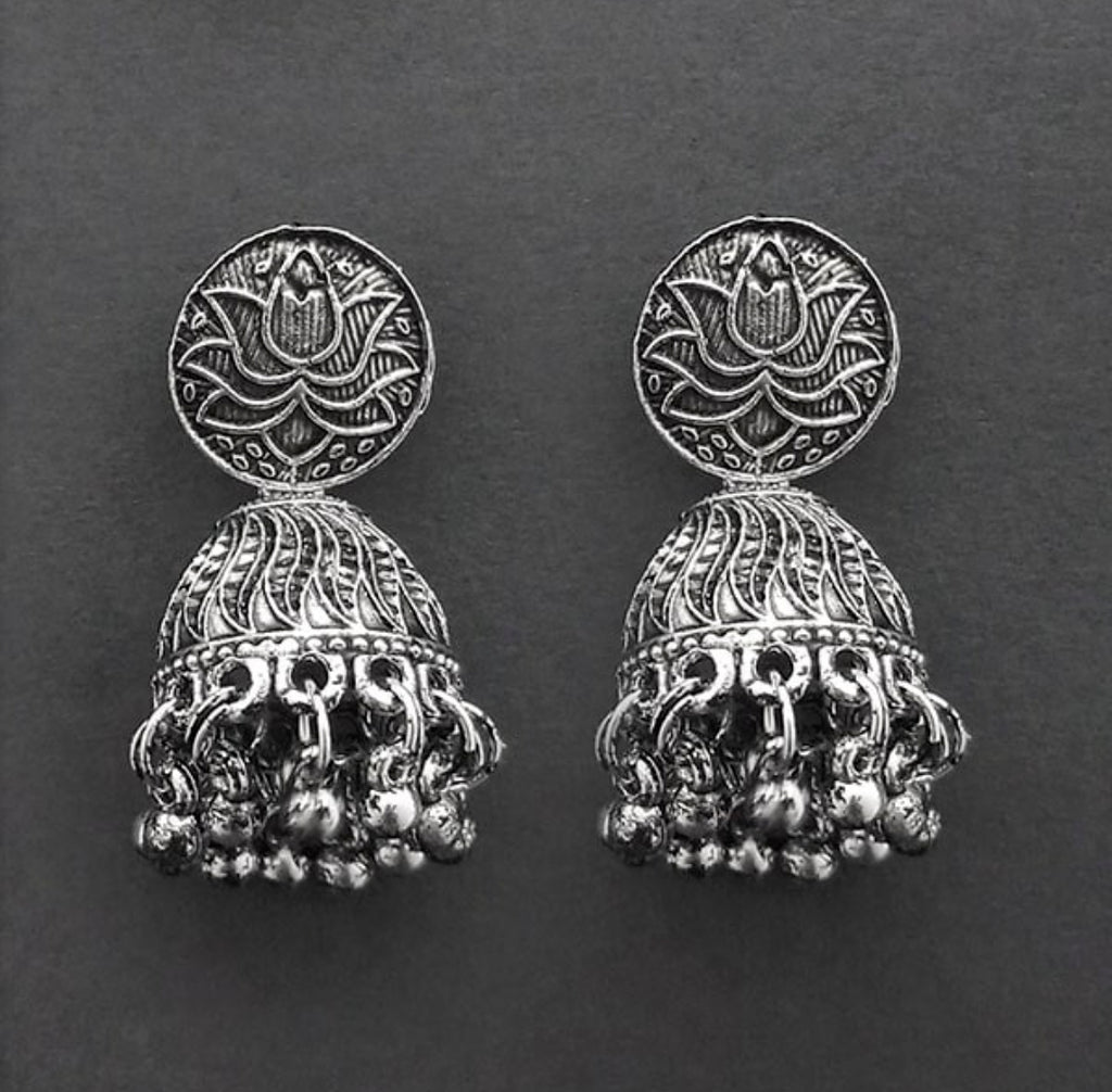 Lotus flower design Oxidized crafted Indian Fashion designs Collection Rajasthani Jewellery Earring jhumka AJODI006029