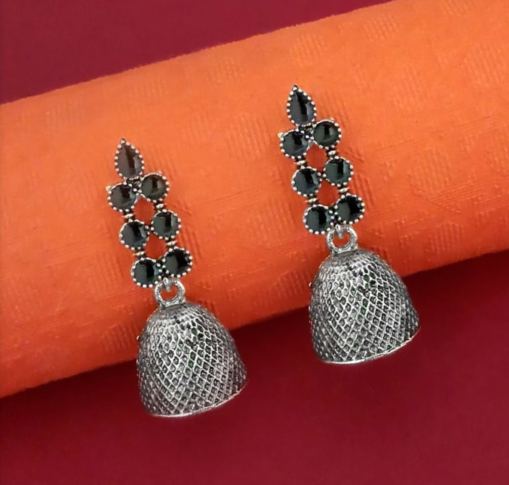 Black Meenakari design Oxidized crafted Indian Fashion designs Collection Rajasthani Jewellery Earring Jhumka AJODI006033