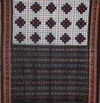 Sambalpuri Handloom cotton saree with black Pasapalli designed white body and Black border