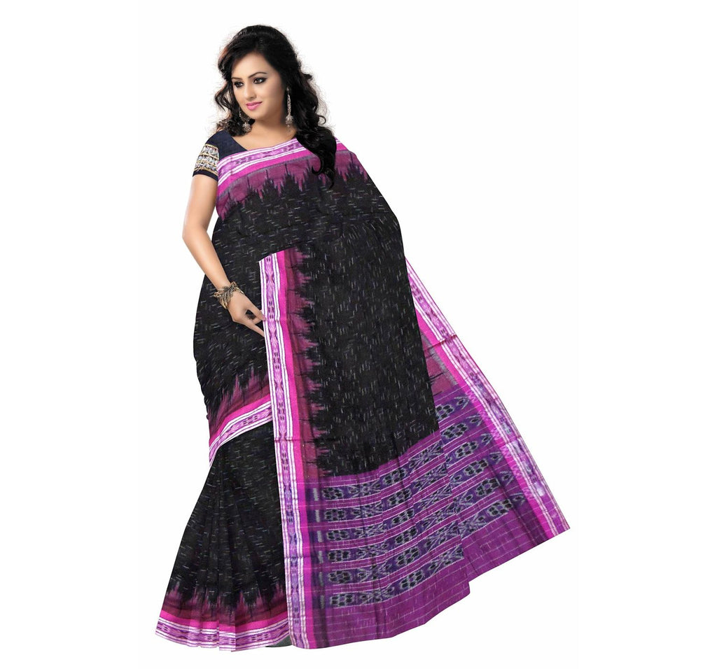 Black Jharana Ikat Handloom cotton saree of odisha Nuapatna(AJODI000020)
