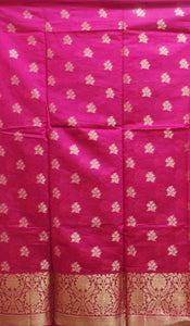 Pink With Orange Handloom Cotton silk Dress Material of Banaras AJODI001803