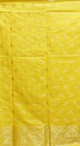 Yellow With Blue Handloom Cotton silk Dress Material of Banaras AJODI001798