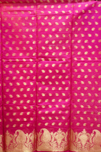 Pink With Gold Handloom Cotton silk Dress Material of Banaras AJODI001792