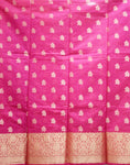 Pink With Gold Handloom Cotton silk Women's Dress Material Made In  Banaras AJODI001789