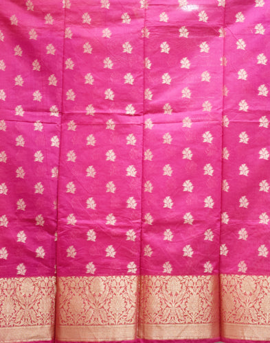 Pink With Orange Handloom Cotton silk Dress Material of Banaras AJODI001789