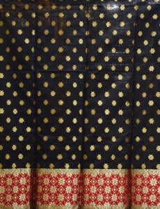 Black With Red Handloom Cotton silk Dress Material of Banaras AJODI001802