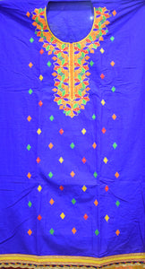 Navy Blue With Orange Bandhani design Handloom Cotton silk Dress Material of Banaras AJODI001788