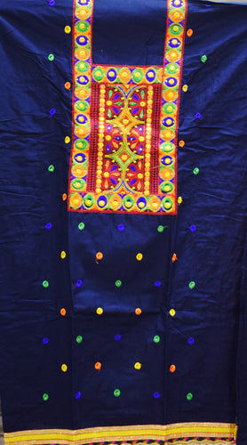 Deep Blue With Orange Bandhani design Handloom Cotton silk Dress Material of Banaras AJODI001786