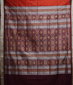 Maroon with White Handloom Bomkai Silk saree made in Odisha Sambalpur AJODI001717