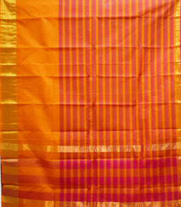 Maroon With Orange Colour Check Design Cotton Silk Saree of Telangana AJODI001670