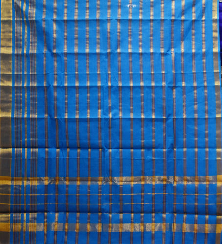 Sky Blue With Gold Colour Check Design Cotton Silk Saree of Telangana AJODI001668