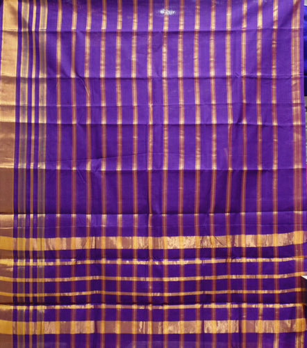 Violet With Gold Colour Check Design Cotton Silk Saree of Telangana AJODI001666