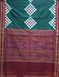 Green With Multi Pasapalli cotton saree made in Odisha Sambalpur AJODI001708