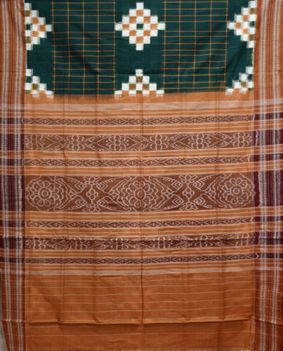 Green With Multi Pasapalli cotton saree made in Odisha Sambalpur AJODI001710