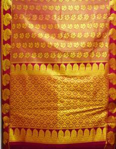 Pink With Gold Bridal Silk Saree Of South India AJODI001662