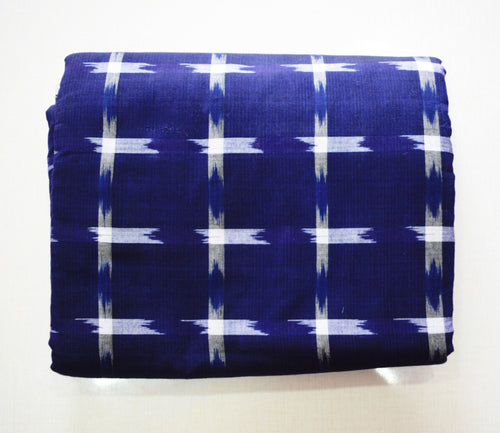 Blue With White Check Design Cotton Running Material Of Nuapatna,Odisha AJODI001862