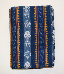 Blue  With White Traditional Design Cotton Running Material Of Nuapatna,Odisha AJODI001858