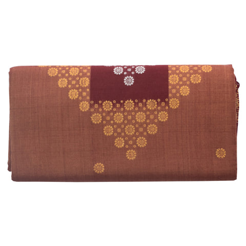 Light Brown With Maroon Bomkai Design Sambalpuri Handloom Cotton Saree from Odisha AJODI002089