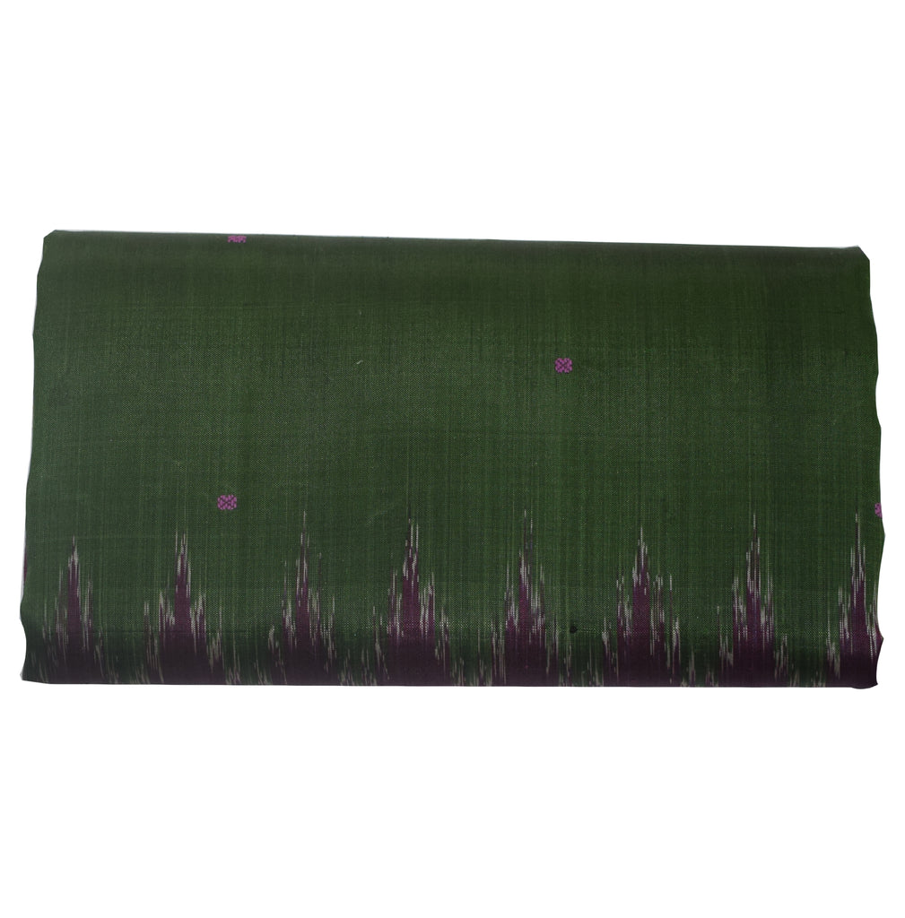 Temple design Green Ikat Odisha Handloom Silk saree of Nuapatna AJODI000002