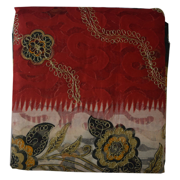 Brasso Design Red with Multicolor Handloom Cotton Saree of West Bengal AJODI000440