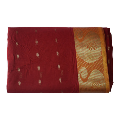Butti Design Red with Golden Border West Bengal Handloom cotton Saree (AJODI000032)